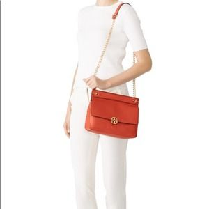 Tory Burch red Chelsea shoulder leather bag